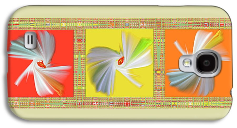 Abstract Galaxy S4 Case featuring the digital art Dancing Flower Trio by Ben and Raisa Gertsberg
