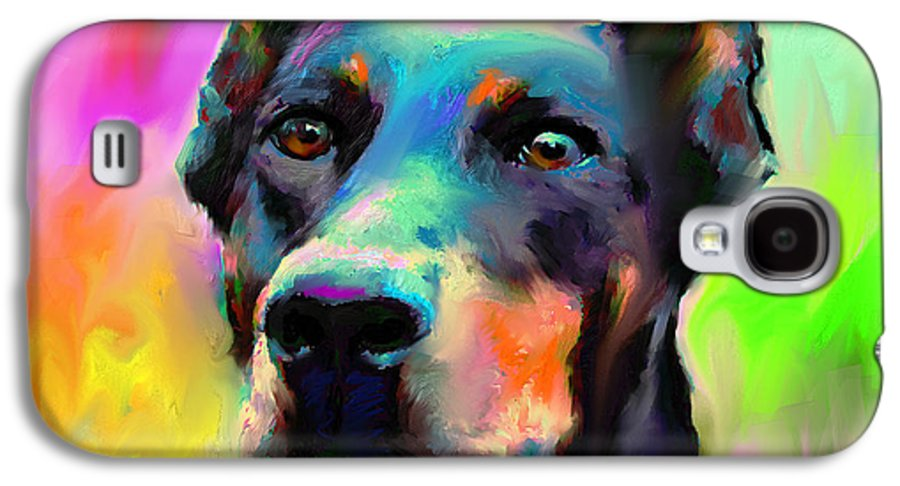 Doberman Portrait Galaxy S4 Case featuring the painting Doberman Pincher Dog Portrait by Svetlana Novikova