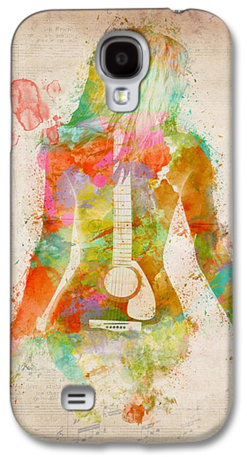 Guitar Galaxy S4 Case featuring the digital art Music Was My First Love by Nikki Marie Smith