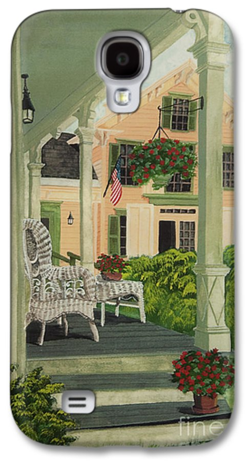 Side Porch Galaxy S4 Case featuring the painting Patriotic Country Porch by Charlotte Blanchard