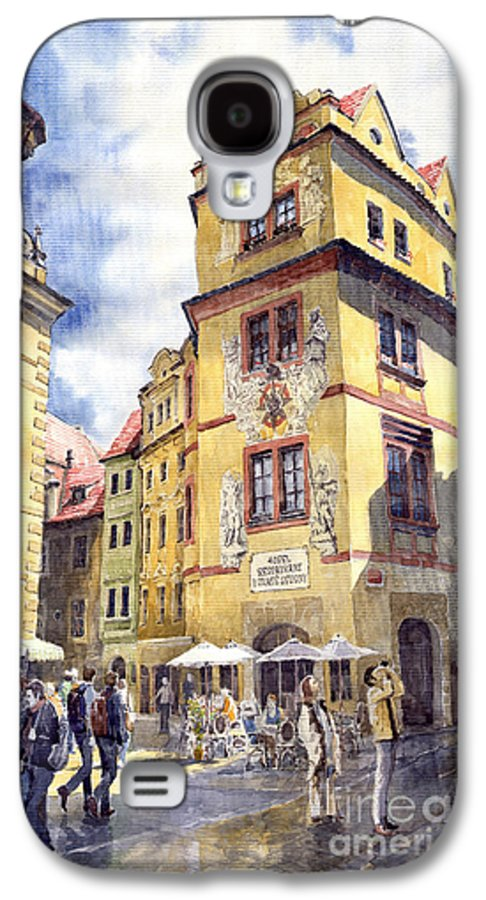 Architecture Galaxy S4 Case featuring the painting Prague Karlova Street Hotel U Zlate Studny by Yuriy Shevchuk