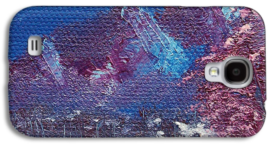 Landscape Galaxy S4 Case featuring the painting Purple Mountain Landscape by Jera Sky
