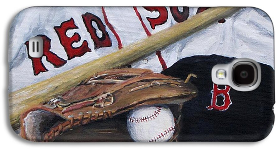 Red Sox Galaxy S4 Case featuring the painting Red Sox Number Six by Jack Skinner