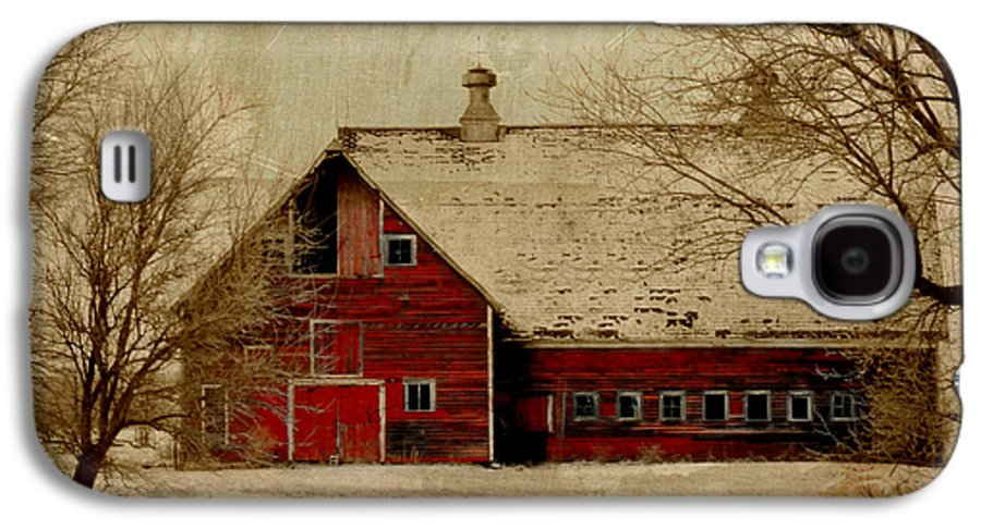 Red Galaxy S4 Case featuring the digital art South Dakota Barn by Julie Hamilton
