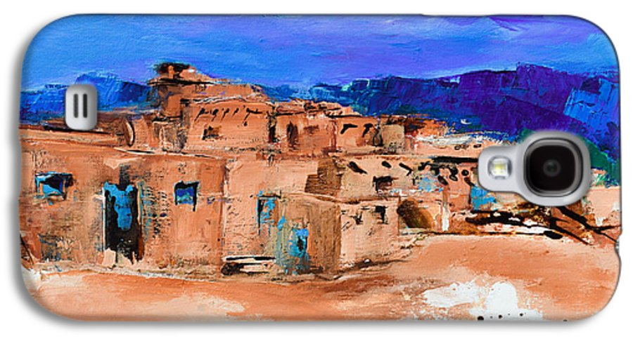 Taos Galaxy S4 Case featuring the painting Taos Pueblo Village by Elise Palmigiani