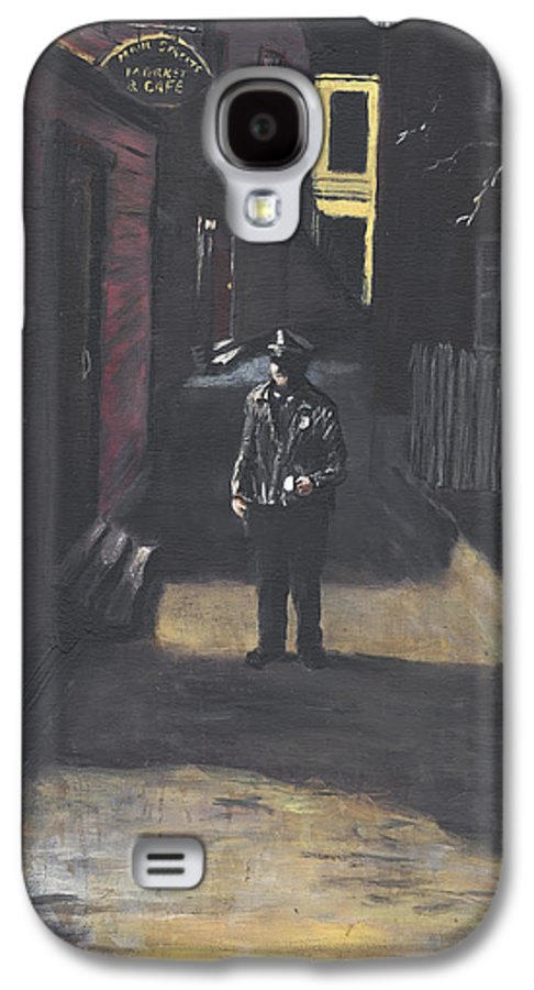 Police Officer Galaxy S4 Case featuring the painting The Lonely Beat by Jack Skinner