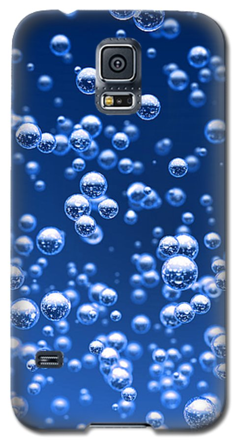 Bubble Galaxy S5 Case featuring the digital art Blue Bubbles by Bruno Haver