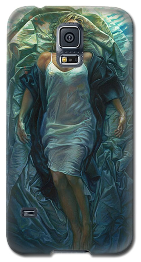 Conceptual Galaxy S5 Case featuring the painting Emerge Painting by Mia Tavonatti