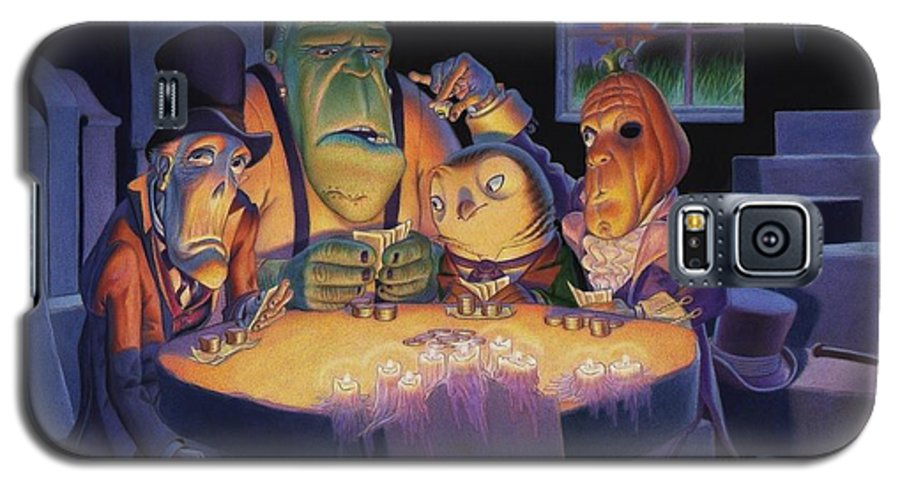 Halloween Galaxy S5 Case featuring the painting Poker Buddies by Richard Moore