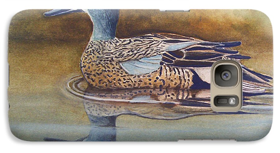 Rick Huotari Galaxy S7 Case featuring the painting Blue Winged Teal by Rick Huotari