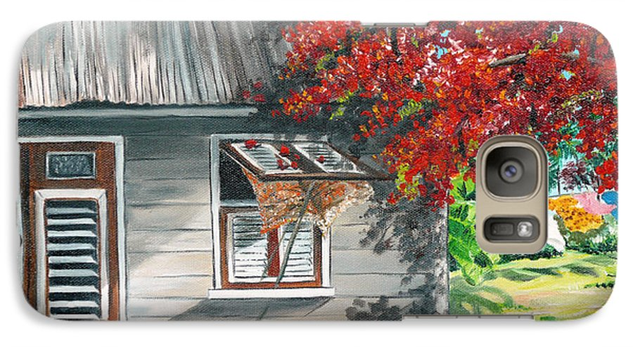 Caribbean Painting Typical Country House In The Caribbean Or West Indian Islands With Flamboyant Tree Tropical Painting Galaxy S7 Case featuring the painting Little West Indian House 1 by Karin Dawn Kelshall- Best