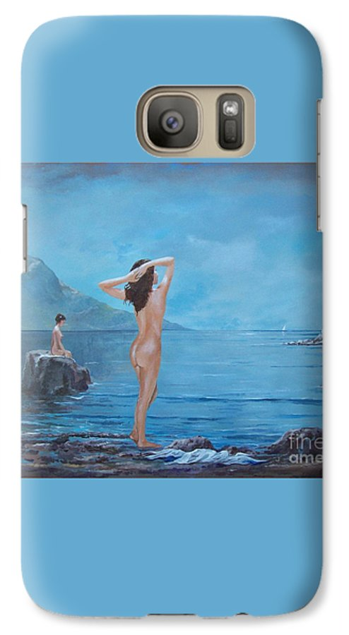Female Figures Galaxy S7 Case featuring the painting Nymphs by Sinisa Saratlic