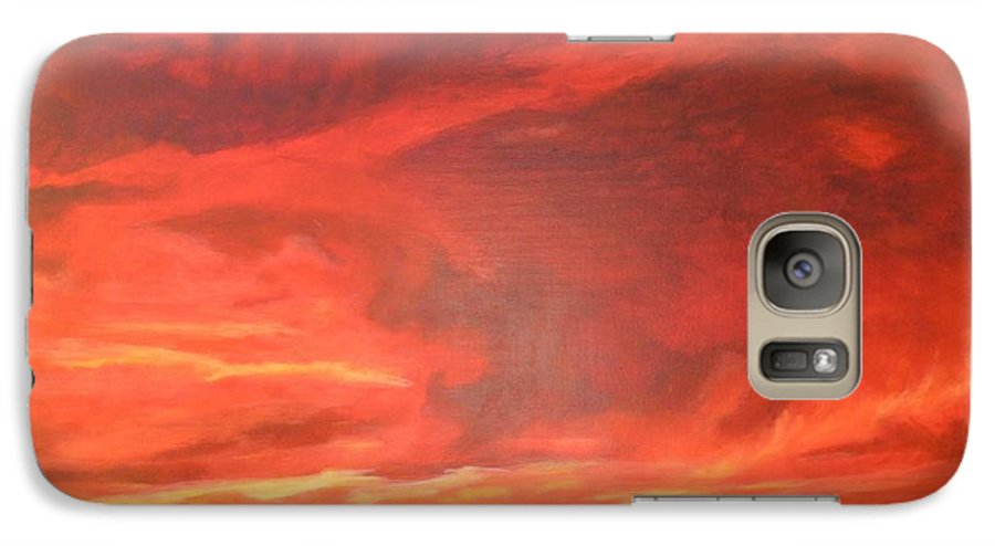 Western Galaxy S7 Case featuring the painting One Last Look by Janis Mock-Jones