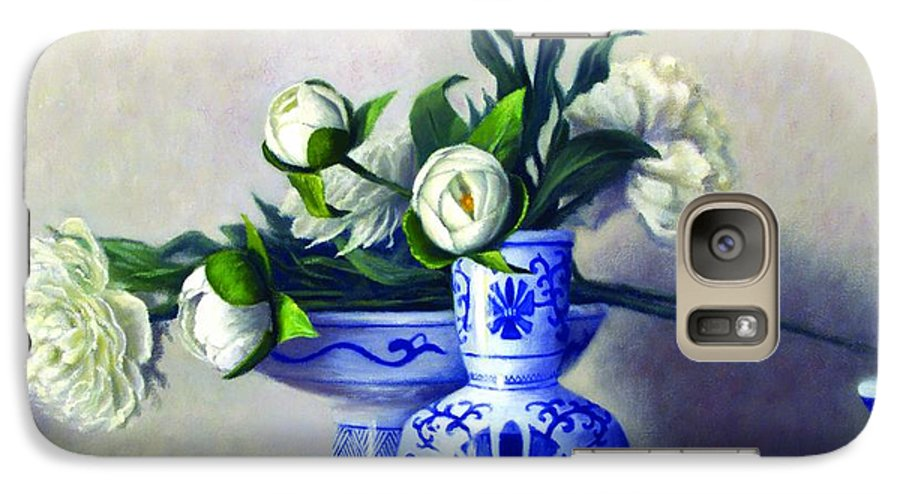 Peonies Galaxy S7 Case featuring the painting Peony Blossoms by Rick Hansen