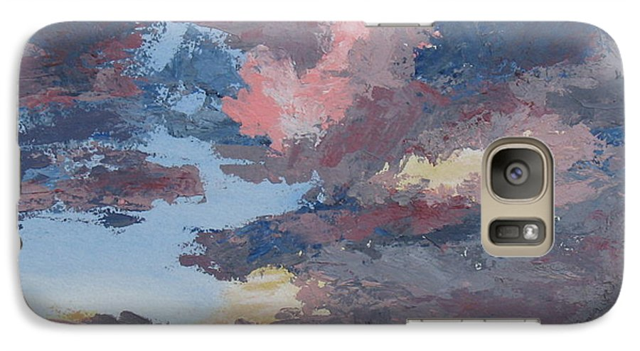 Stormy Sky Galaxy S7 Case featuring the painting Storm A Brewin by Janis Mock-Jones