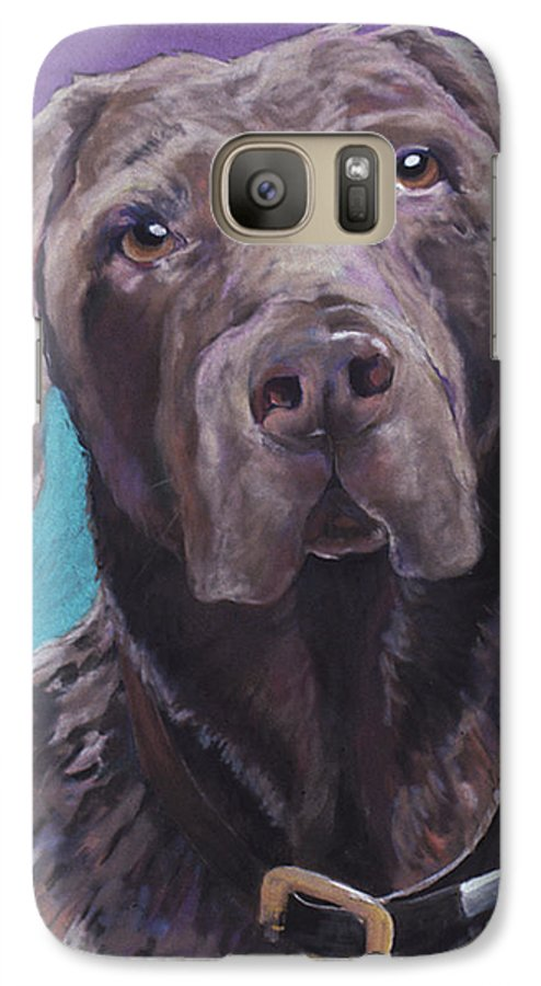 Pet Portrait Commissions Galaxy S7 Case featuring the painting 100 Lbs. Of Chocolate Love by Pat Saunders-White