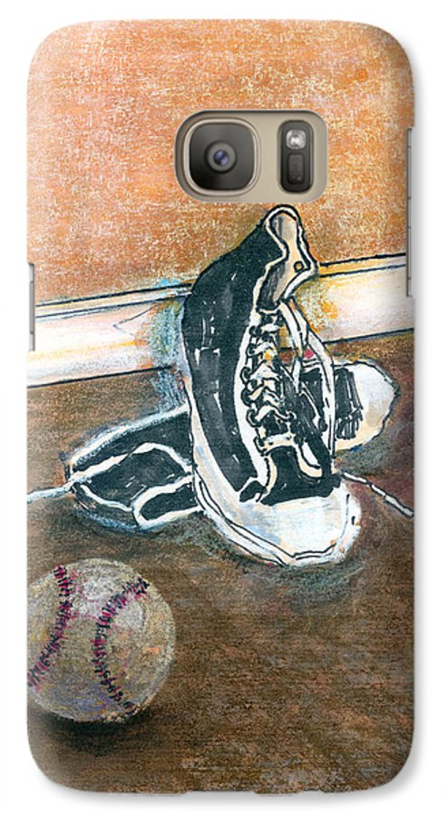 Tennis Shoes Galaxy S7 Case featuring the mixed media After The Game by Arline Wagner