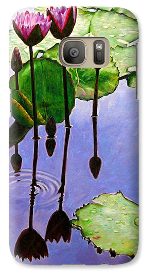 Rose Colored Water Lilies After A Morning Shower With Dark Reflections And Water Ripple. Galaxy S7 Case featuring the painting After The Shower by John Lautermilch