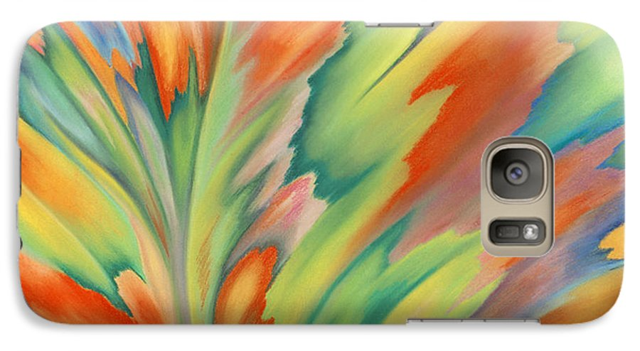 Abstract Galaxy S7 Case featuring the painting Autumn Flame by Lucy Arnold