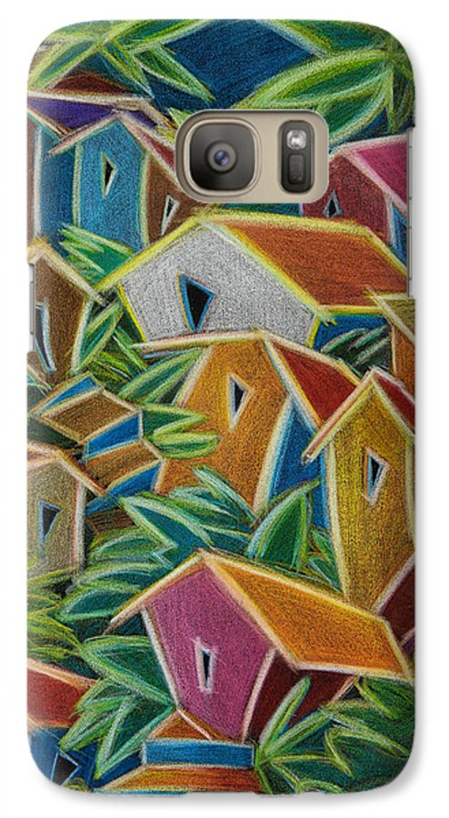 Landscape Galaxy S7 Case featuring the painting Barrio Lindo by Oscar Ortiz