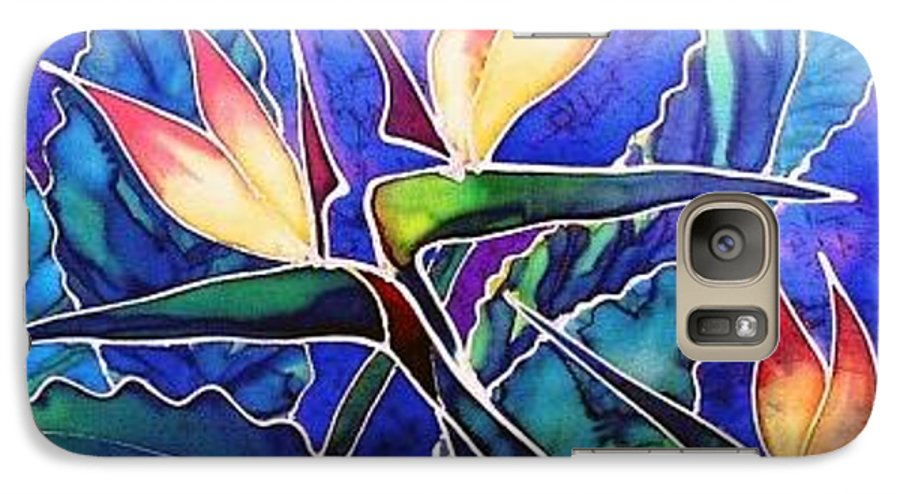 Silk Painting Galaxy S7 Case featuring the painting Birds Of Paradise II by Francine Dufour Jones