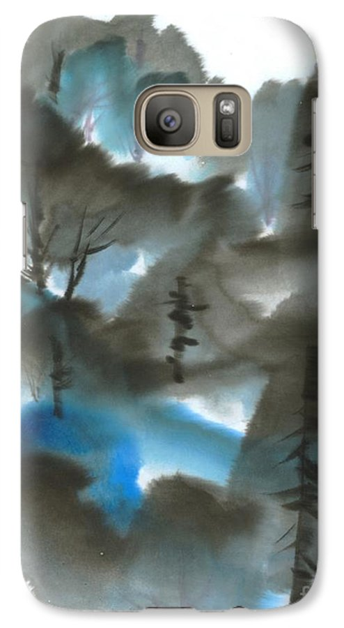 A Forest With A Tint Of Blue. This Is A Contemporary Chinese Ink And Color On Rice Paper Painting With Simple Zen Style Brush Strokes.  Galaxy S7 Case featuring the painting Blue Forest by Mui-Joo Wee