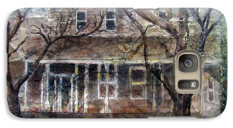 House Galaxy S7 Case featuring the mixed media Brown Batik House by Arline Wagner