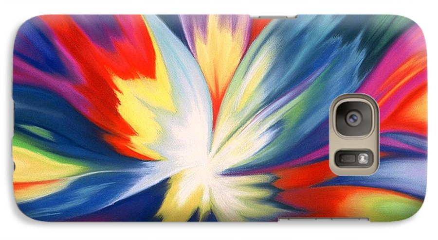 Abstract Galaxy S7 Case featuring the painting Burst Of Joy by Lucy Arnold