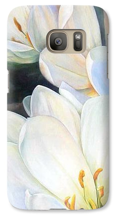 Floral Painting Galaxy S7 Case featuring the painting Crocus by Muriel Dolemieux