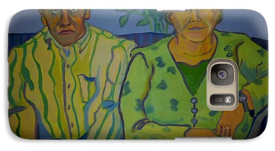 Older Couple Galaxy S7 Case featuring the painting Dottie And Jerry by Debra Robinson