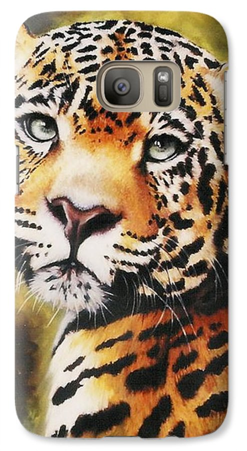 Jaguar Galaxy S7 Case featuring the painting Enchantress by Barbara Keith