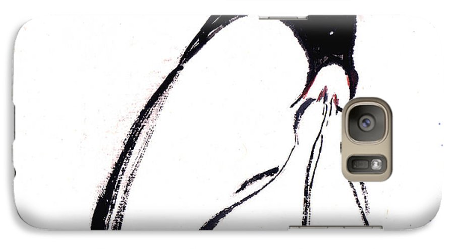 An Adult Penguin Feeding The Babies. This Is A Contemporary Chinese Ink And Color On Rice Paper Painting With Simple Zen Style Brush Strokes.  Galaxy S7 Case featuring the painting Feeding by Mui-Joo Wee