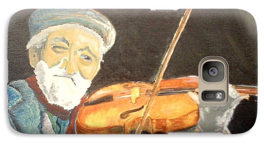 Hungry He Plays For His Supper Galaxy S7 Case featuring the painting Fiddler Blue by J Bauer
