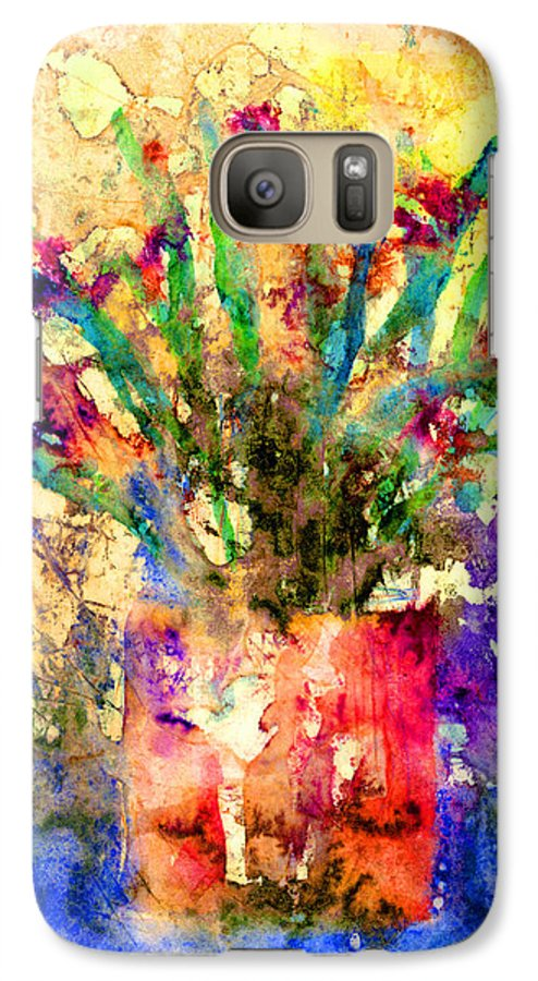 Flower Galaxy S7 Case featuring the mixed media Flowery Illusion by Arline Wagner