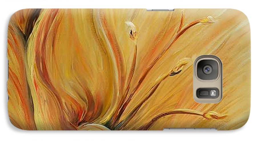 Gold Galaxy S7 Case featuring the painting Golden Glow by Nadine Rippelmeyer