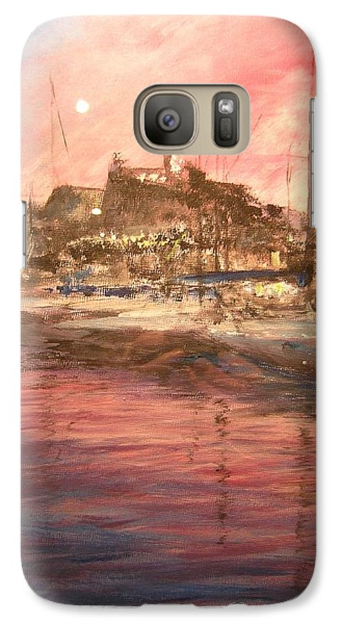Yachts Galaxy S7 Case featuring the painting Ibiza Old Town At Sunset by Lizzy Forrester