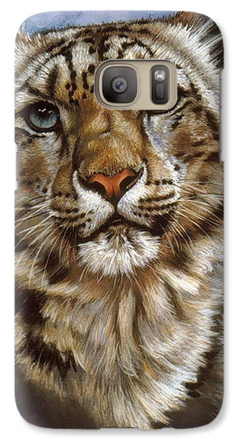 Snow Leopard Galaxy S7 Case featuring the painting Jewel by Barbara Keith