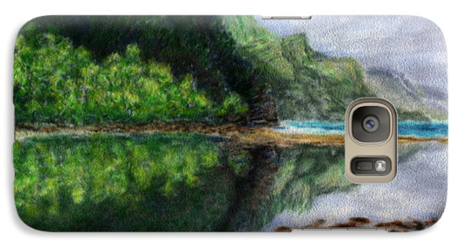 Rainbow Colors Pastel Galaxy S7 Case featuring the painting Ke'e by Kenneth Grzesik