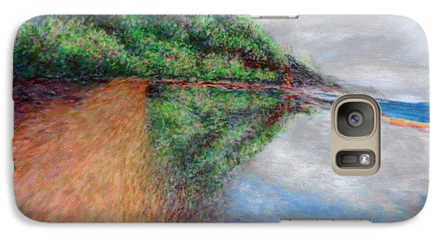 Rainbow Colors Pastel Galaxy S7 Case featuring the painting Ke'e Tondo by Kenneth Grzesik