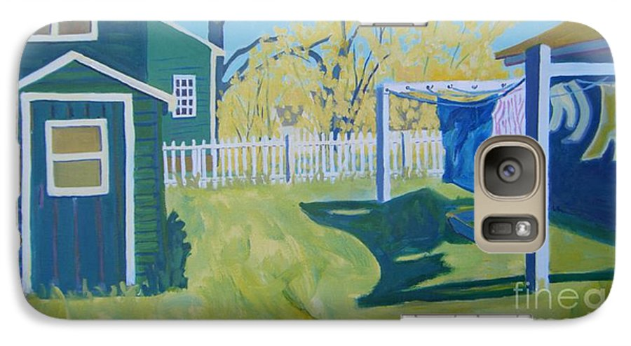 Backyard Galaxy S7 Case featuring the painting Line Of Wash by Debra Robinson