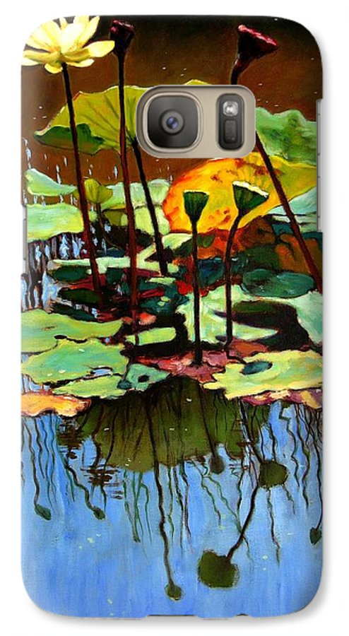 Lotus Flower Galaxy S7 Case featuring the painting Lotus In July by John Lautermilch