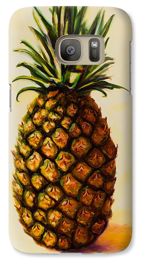 Pineapple Galaxy S7 Case featuring the painting Pineapple Angel by Shannon Grissom