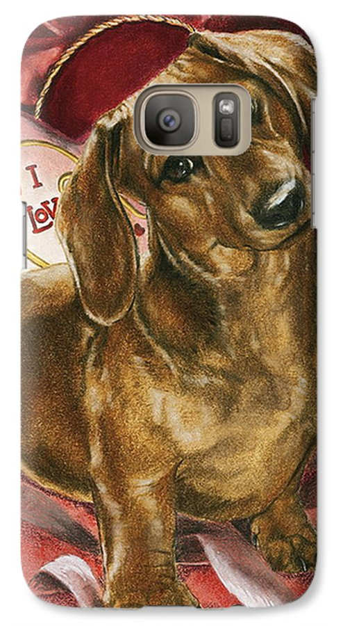Dogs Galaxy S7 Case featuring the painting Please Be Mine by Barbara Keith