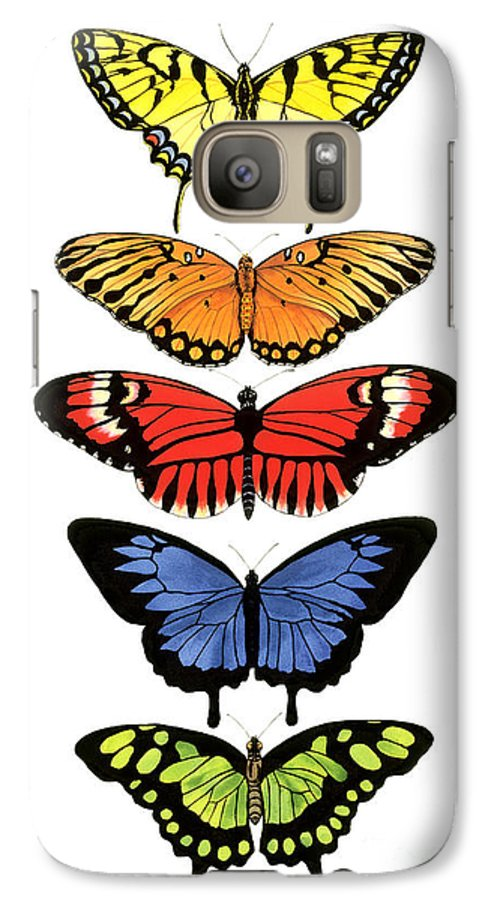 Butterflies Galaxy S7 Case featuring the painting Rainbow Butterflies by Lucy Arnold