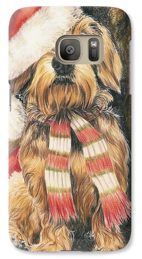 Dogs Galaxy S7 Case featuring the drawing Santas Little Yelper by Barbara Keith