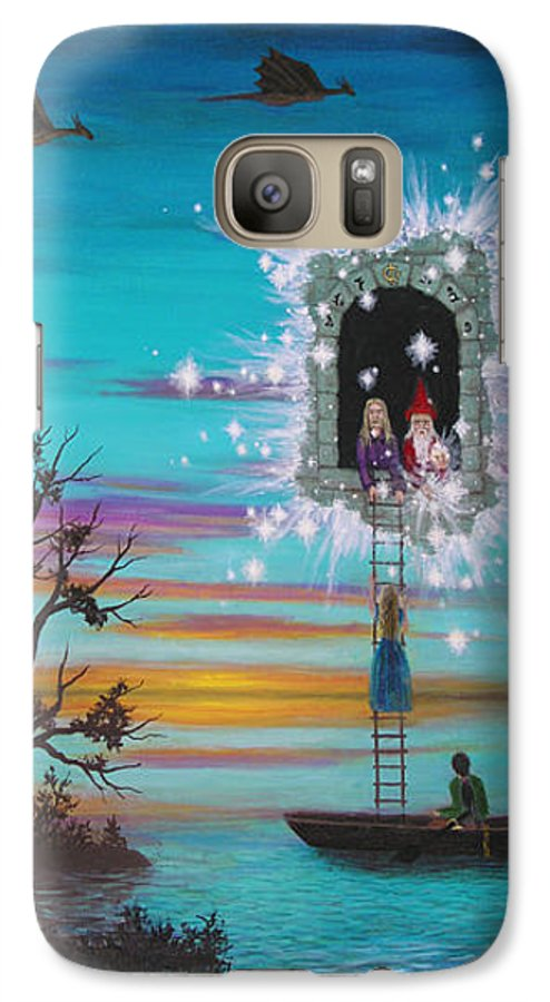 Fantasy Galaxy S7 Case featuring the painting Sky Window by Roz Eve