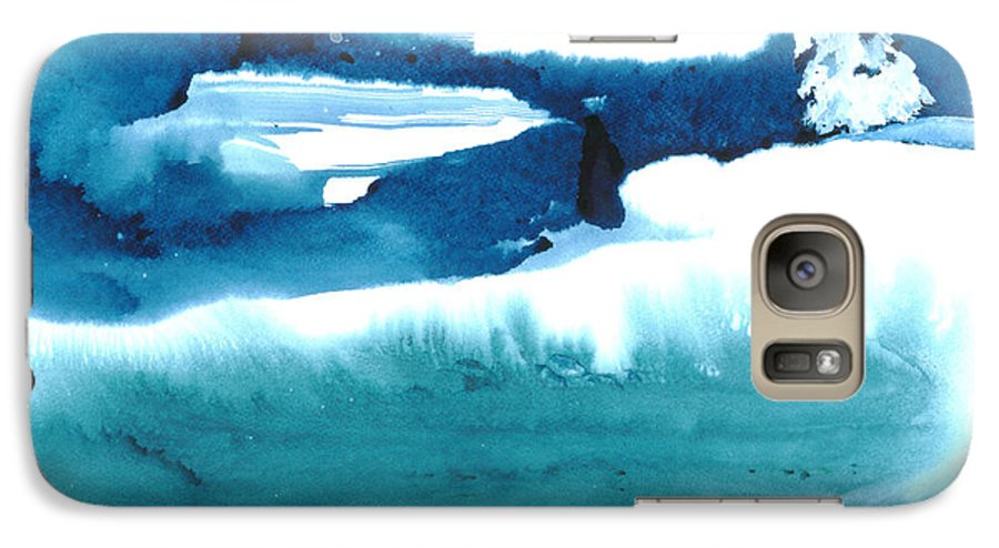 A Flock Of Snowy Egrets Standing In Snowy Country - A Watercolor Painting Galaxy S7 Case featuring the painting Snowy Egrets by Mui-Joo Wee