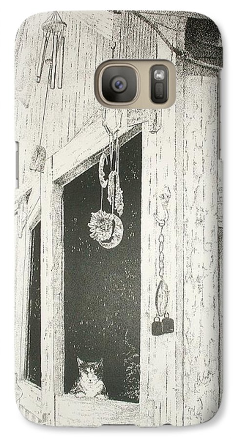 Cats  Kitten  Animals  Barn Landscape Pets Pen&ink Pointillism Galaxy S7 Case featuring the painting Sox S Watch     by Tony Ruggiero