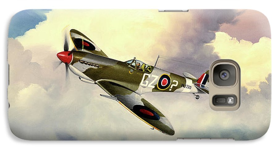 Military Galaxy S7 Case featuring the painting Spitfire by Marc Stewart