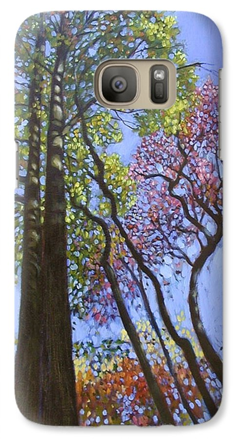 Fall Trees Highlighted By The Sun Galaxy S7 Case featuring the painting Sunlight On Upper Branches by John Lautermilch